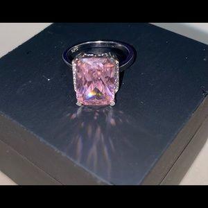925 silver pink Swarovski ring